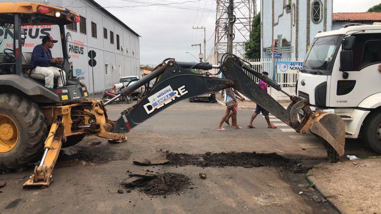 'Passagem molhada' começa a ser construída na Rua São Paulo no Entroncamento