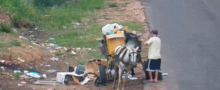 Câmeras de videomonitoramento flagram carroceiros 'sujões' descartando lixo nas ruas